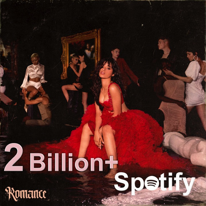 #CamilaCabello's sophomore album #Romance surpasses 2 Billion streams on Spotify!👏💃💿💗💥2️⃣🅱️🌎🔥🌟👑 @Camila_Cabello