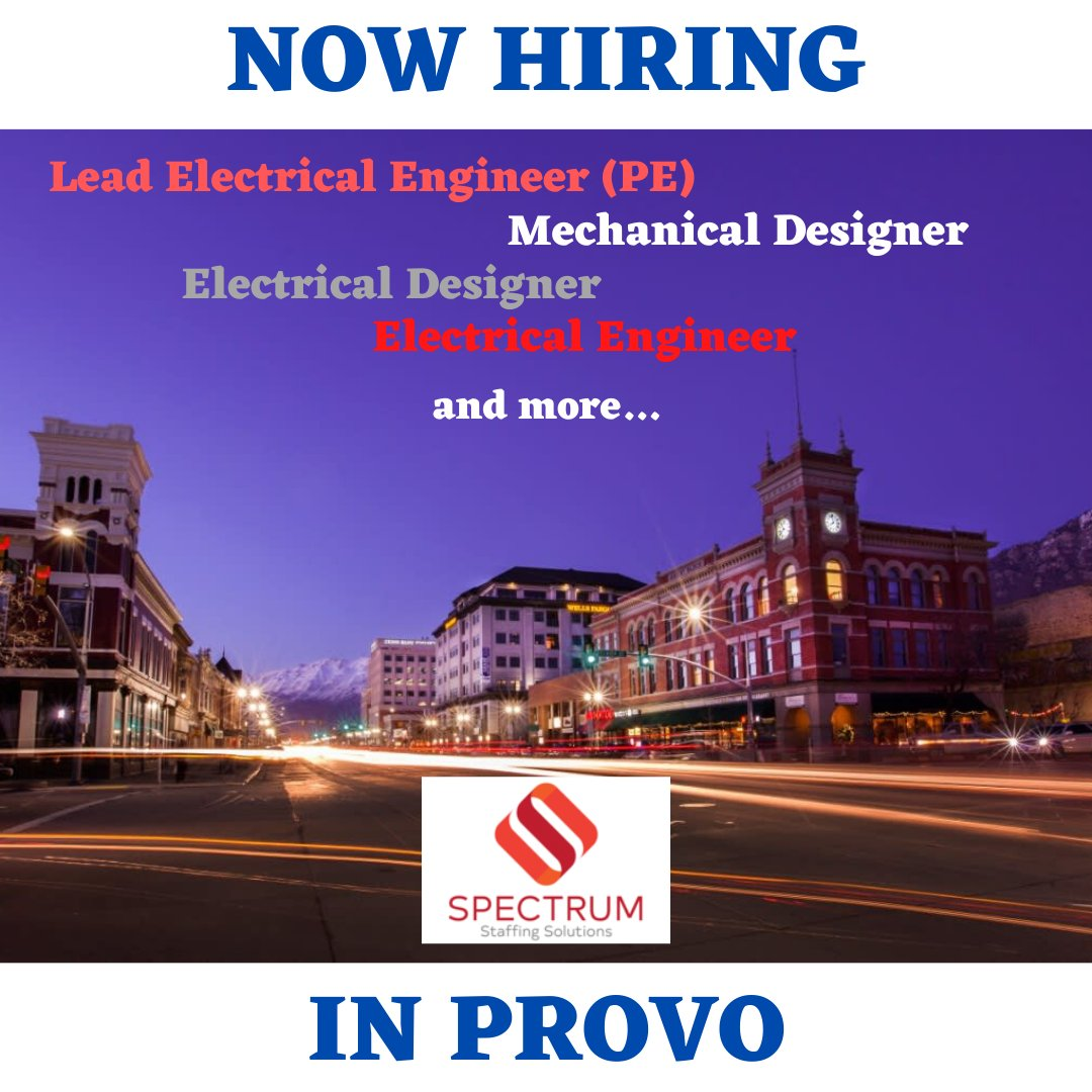 ...safe, clean, family-friendly neighborhoods and more cultural and culinary attractions than you expect to find! Email Carly@TheSpectrumSoution.com for job details and find yourself here! #thespectrumsolution #nowhiring #electricalengineers #mechanicalengineers #utahengineerspic.twitter.com/ZqOExW7N8R