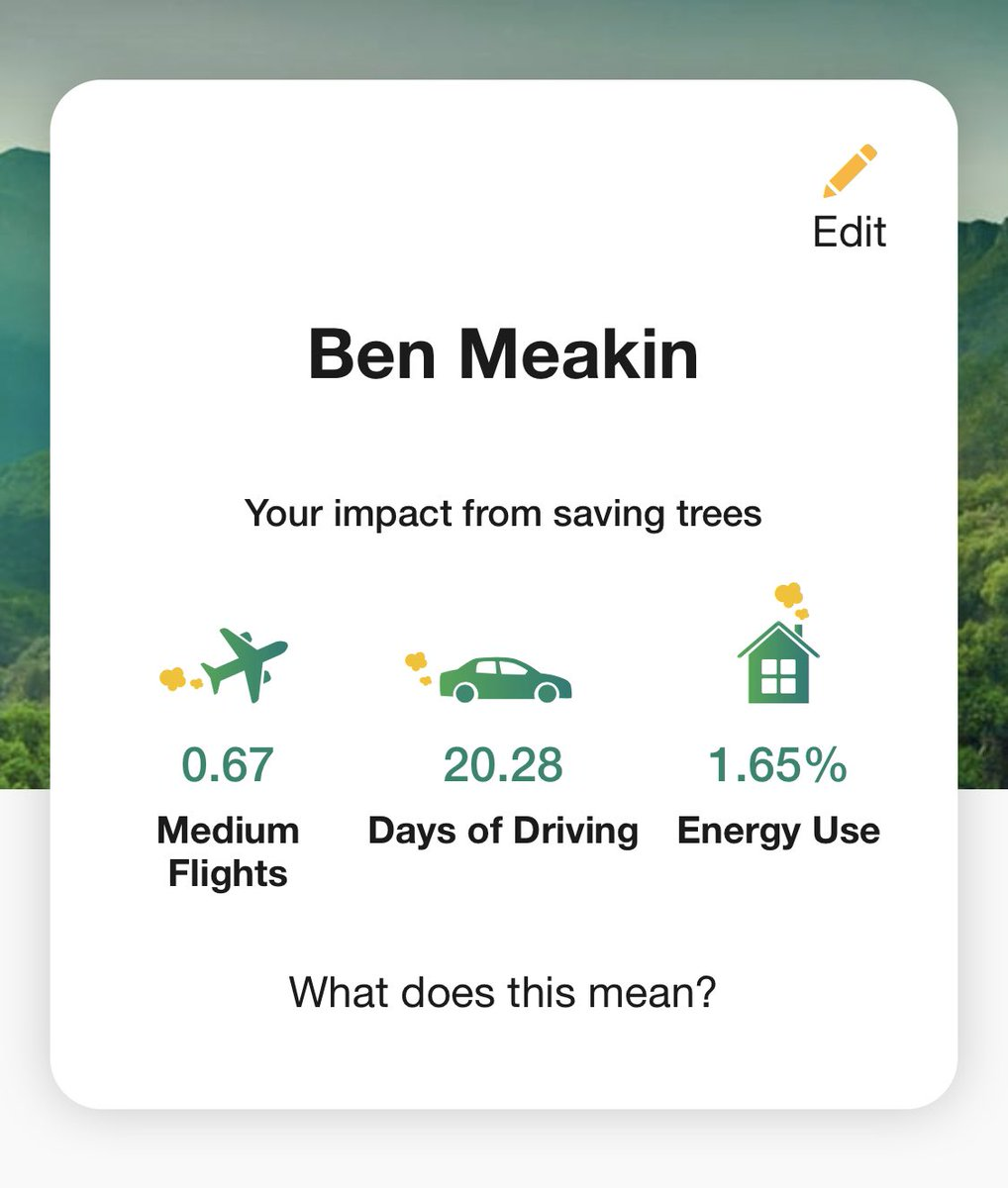 Wow, I've been signed up to @Mytreesofficial for just around a month and already won £10, but more importantly here's the carbon I've offset 🤘🏻🌳🌲🌿 #savetheplanet https://t.co/RCNv896rTf
