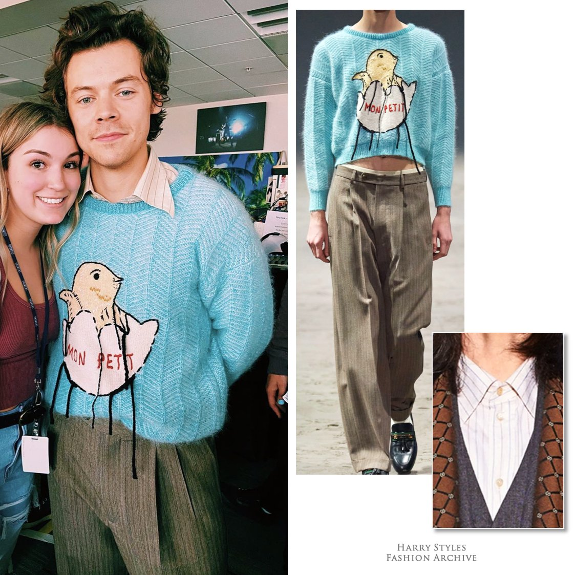 harry styles fashion archive on twitter 02 25 20 harry wore the sweater and trousers from look 2 in gucci s fall 2020 collection and paired them with a pinstripe shirt from pre fall fall harry styles fashion archive on twitter