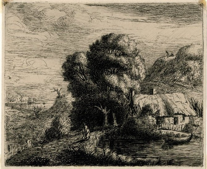 """Vide some """"old-school"""" SCRATCHINGs... 'Cottage nr Lulworth Cove' 1829  #arthistory #etching #printmaking #rembrandt #C19th #19thcentury #victorianpic.twitter.com/Tt35TE2gA4"""