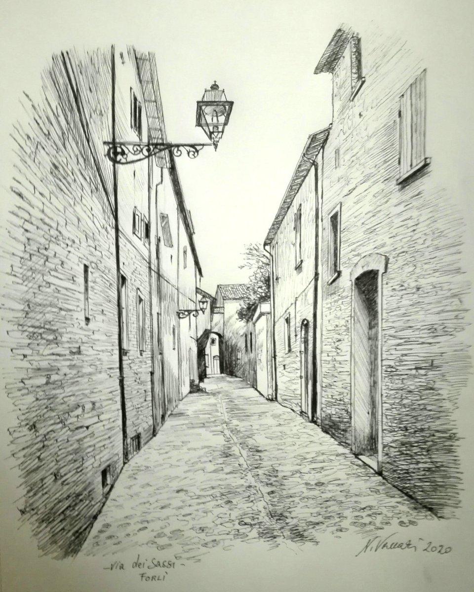Via dei Sassi, Forlì #pennabiro #disegno #drawing #schizzo #skatchbook #arte by Nicola Vaccari