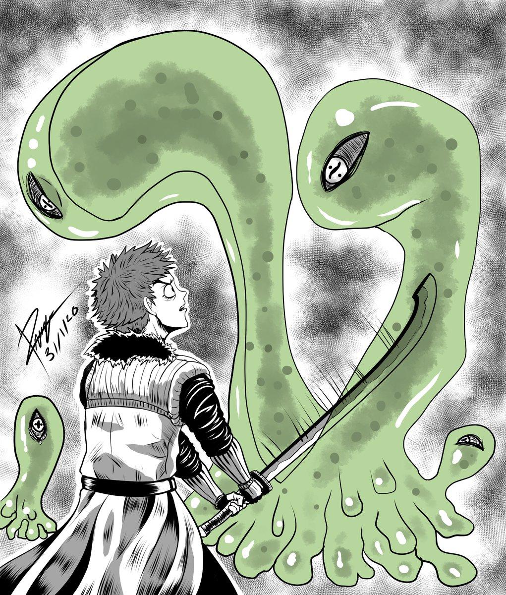 Inktober2017 _2.Divided  #past #inktober2017 #day2 #divided #hero #sword #green #slime #eyes #creature  #digital  #drawing #ilustration  #fantasy