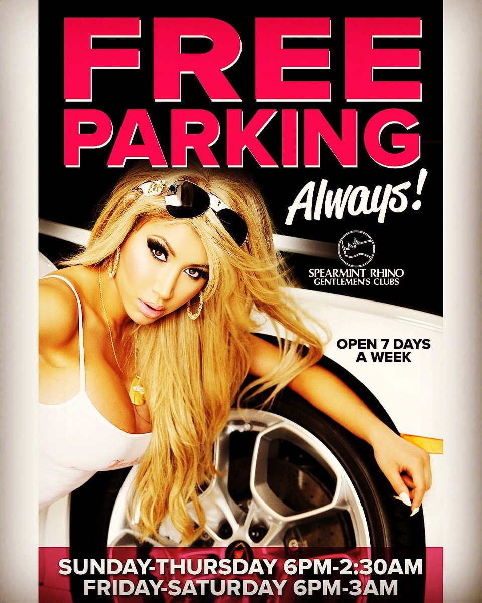 It's always FREE PARKING down at the Rhino! FREE ADMISSION w/ Bottle Purchase! #Spearmint #Rhino #Girls #Style #Exotic #GentlemensClub #PittsburghNightLife #PittsburghEvents #BottleService #PittsburghParties #HappyBirthday #BachelorParty #RiversCasino #Strippers #LapDances