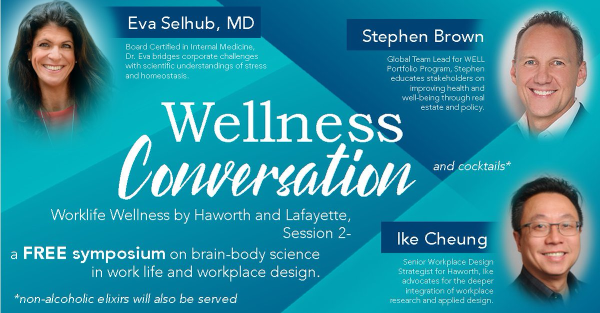Join us on March 5th for an immersive conversation on the mind-body, designer-user, owner-policy maker factors of worklife wellness.  Don't stress! There's time to grab your space register online at https://soo.nr/SzJ1  #worklifewellness #lafayettemetalglass #haworthincpic.twitter.com/YG9SkwpGLX
