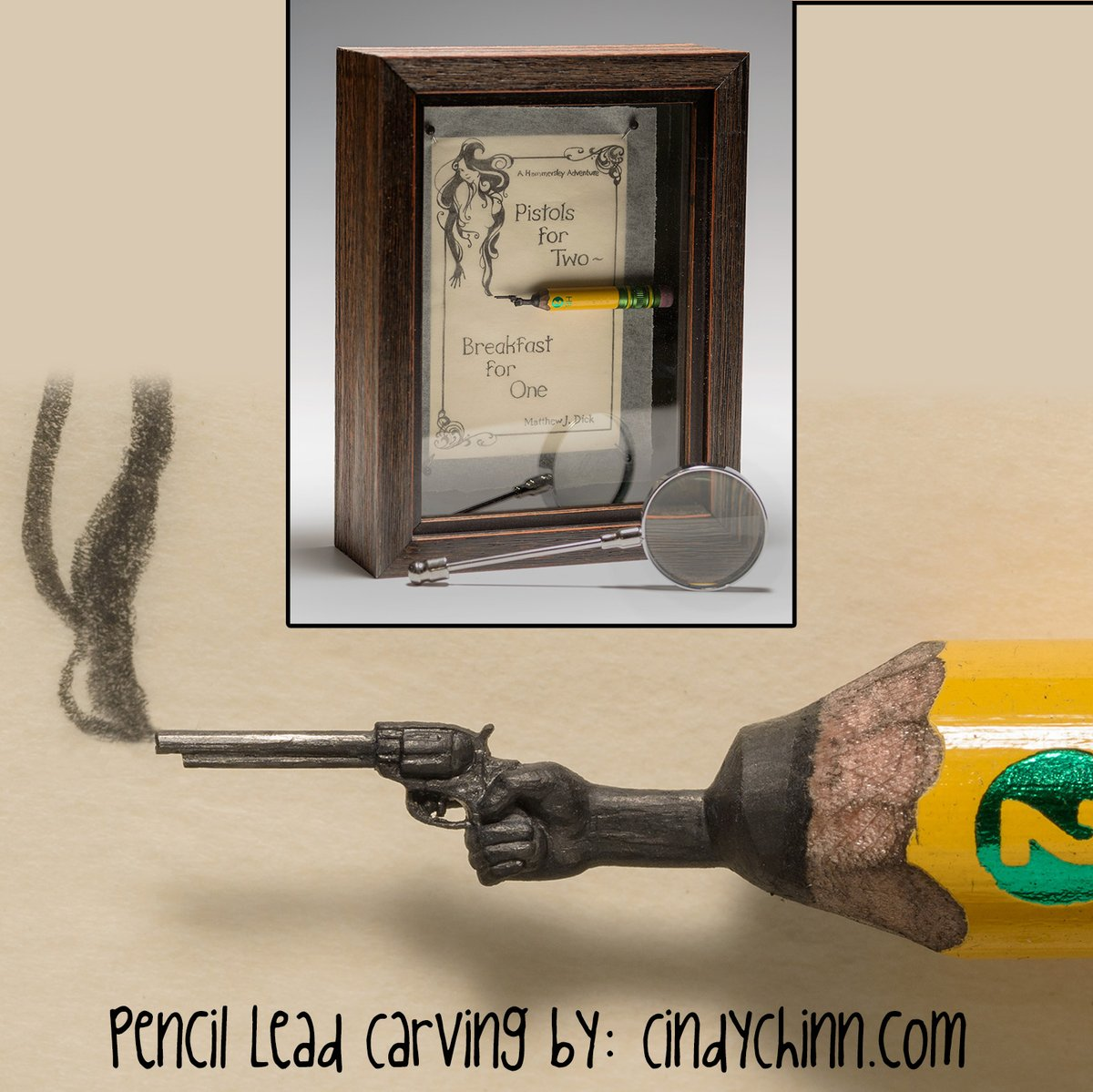 Here's a pencil carving I made a while back for an author based on the title of his book. .  . #carving #pencilcarving #handmade #pistol #smokinggun #art #artist #miniatureart #miniature #cindychinn