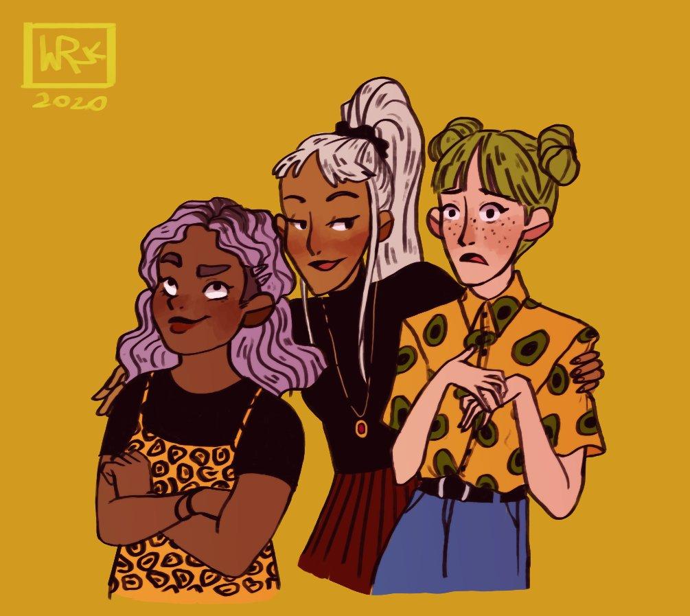 what do they see? 👀  #art #artwork #artist #artistontwitter #digitalart #digital #girls #ocs #original #characters #character #design #characterdesign #girl #friends #emotions #colorfulhair
