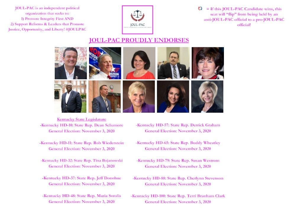 #JOULPAC #2020Elections #Kentucky #Endorsements: #KYlegis: #HD10: @DeanSchamore; #HD11: @RobWiederstein; #HD32: @TinaForKentucky; #HD37: @RepDonohue; #HD48: @sorolismn! #JOULPACEndorsed #GOTV 5/19/20 & 11/3/20! pic.twitter.com/sOZV7ciylw