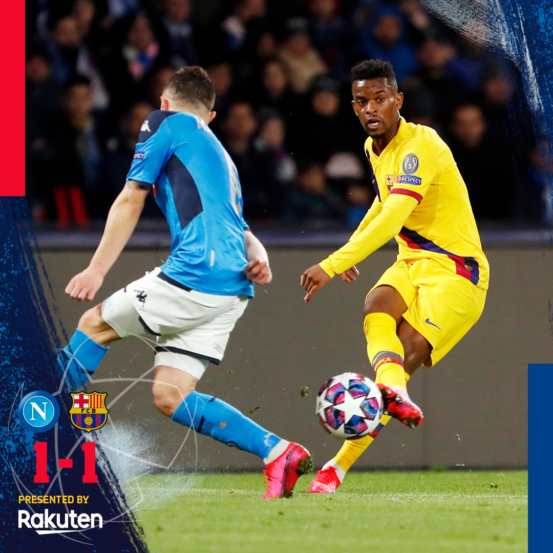 🏁GAME OVER! 🏁  IT ALL COMES DOWN TO CAMP NOU!  1️⃣ Napoli (D. Mertens, 30') 1️⃣ Barça (@AntoGriezmann, 57')