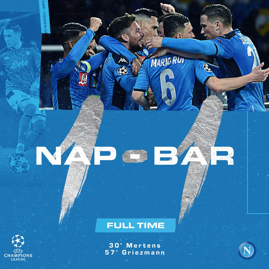 ⏱ 90'+5' | Full Time ⏹ ⚽ #NAPBAR 1-1  💙 #ForzaNapoliSempre