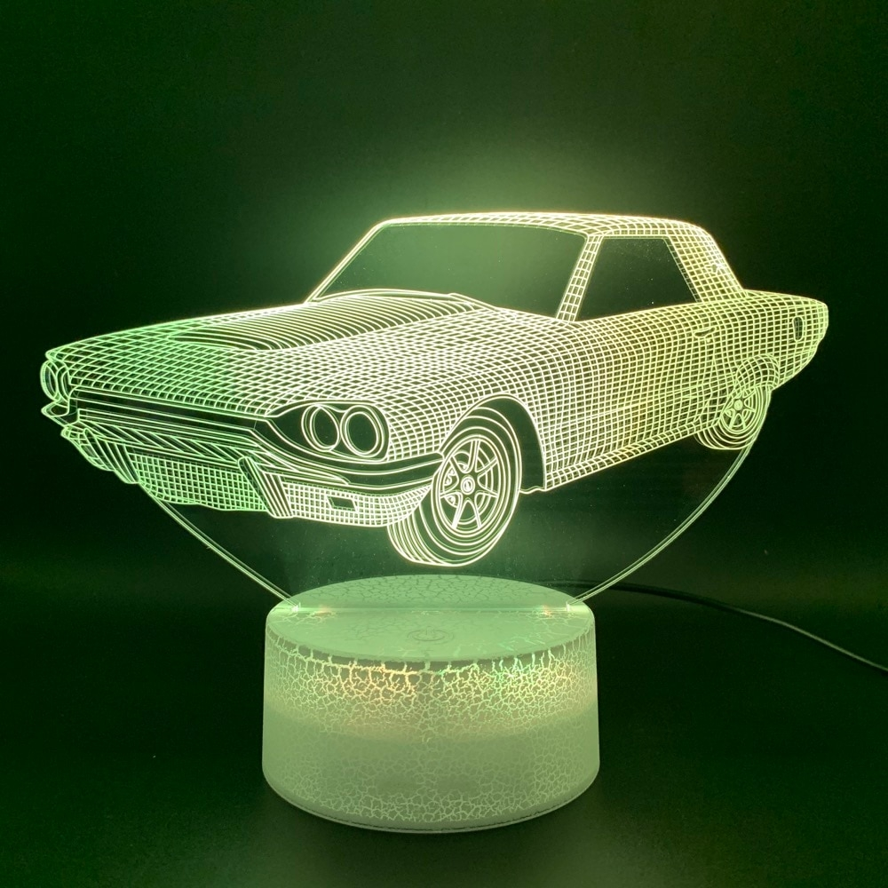 #food #tflers Cool 3D Illusion Lamp Vintage Car Lampara Office Home Deco Lamp Hologram Gift for Kid Child Nightlight Retro Car Led Night Light