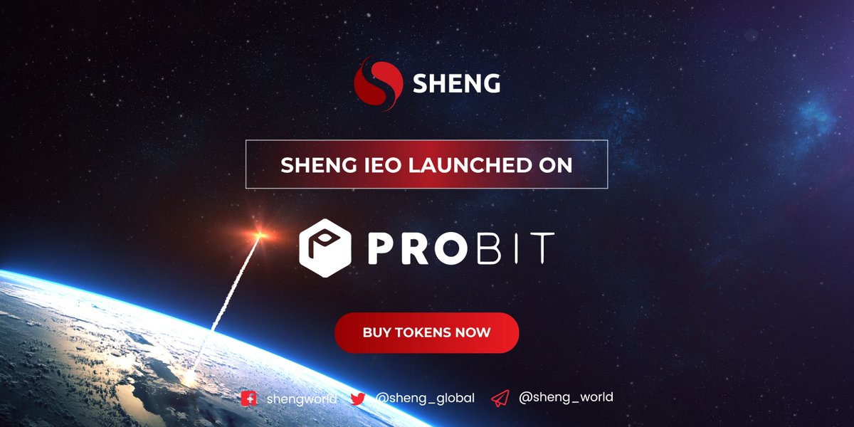 The wait is over.  IEO is finally live on Probit. Don't miss the opportunity of life to get over 53% when buying from Probit. Participate here:   #Shengtoken #shengieo #Probitieo #crypto #bestieo #bestico #crypto #topieo #Shengtoken