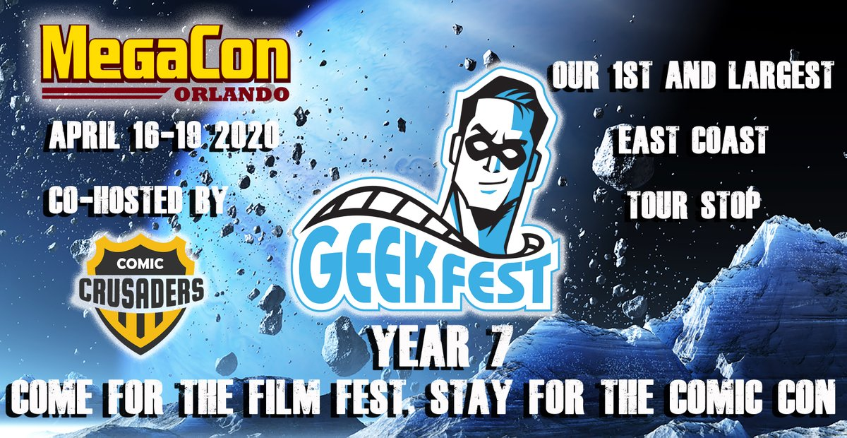 @GeekFilmFests Year 7 Coming to  @MegaConOrlando April 16-19 2020   Be part of the World's Largest Traveling #ComicCon #FilmFest TIX- http://bit.ly/GeekFestMega2020 …… #GeekFest #FilmFestival #Floridapic.twitter.com/knJAJ9Ny3a