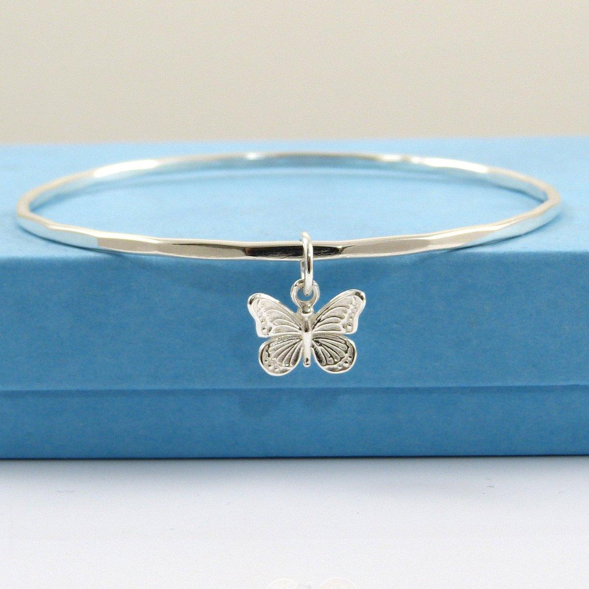 Sterling Silver Butterfly Bangle, Bangle Bracelet, SS Bangle, Sterling Silver Bangle,  Hammered Bangle, Butterflye Bangle  #handmade #seaglassjewelry #thestrandline #etsyshopowner #etsymade #etsysellers #NauticalJewellery