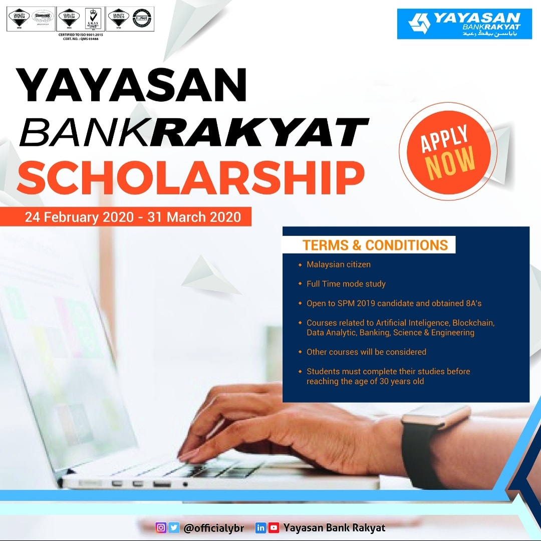 Yayasan Bank Rakyat On Twitter Ybr Is Awarding Yayasan Bank Rakyat Scholarship To Malaysian Students To Be Eligible For The Scholarship Applicants Must Be A Full Time Student Enrolled In A Bachelor S Degree