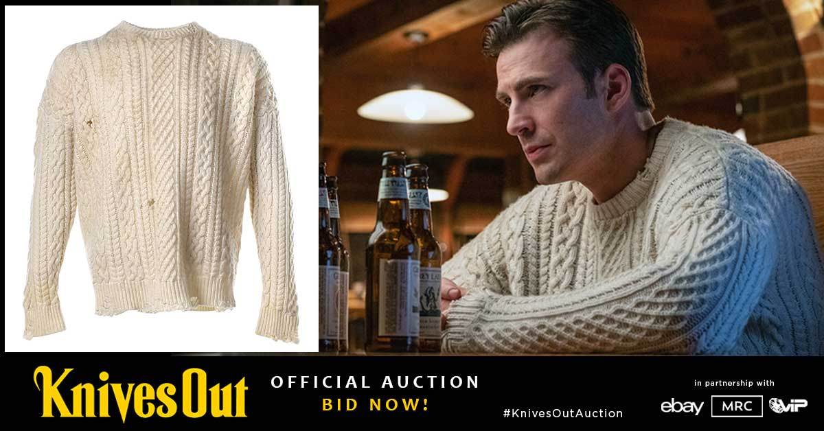You can own Ransom's (Chris Evans) original screen-worn  sweater at the official Knives Out Movie Auction Bid now at http://www.knivesoutauction.com #KnivesOut #KnivesOutAuction #KnivesOutSweater