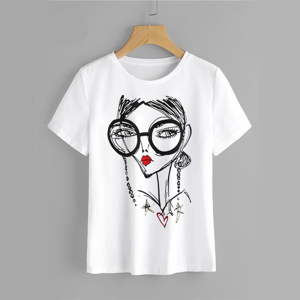 #luxury #design Women's Portrait Printed White Cotton T-Shirt
