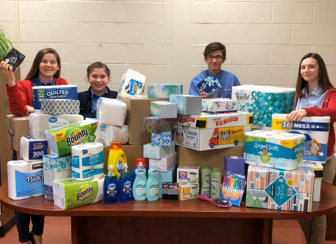 Members of the Dayspring Christian Academy chapter of the National Honors Society held a fundraiser to raise awareness about human trafficking . Members also collected every-day items like paper towels, hand soap, & more to donate to NorthStar.#enditmovement #dayspringchristian