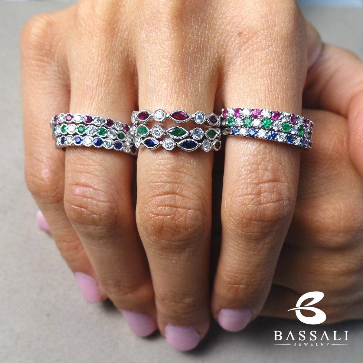 Why have one when you can have them all?  #bassalijewelry #jewelry #fashion #jewellery #accessories #jewelrytweet #style #love #jewelrydesigner #jewelrydesign #ring #jewels #rings #art #jewelryaddict #diamonds #beautiful  #gemstones #ruby #emerald #sapphire #stackablerings