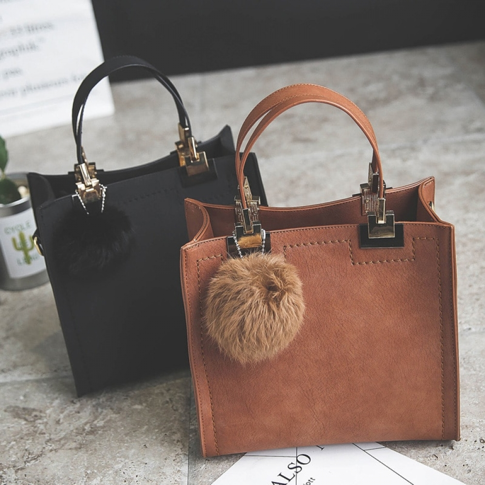 #fashion #style Women's Suede Leather Handbag with Fur Ball