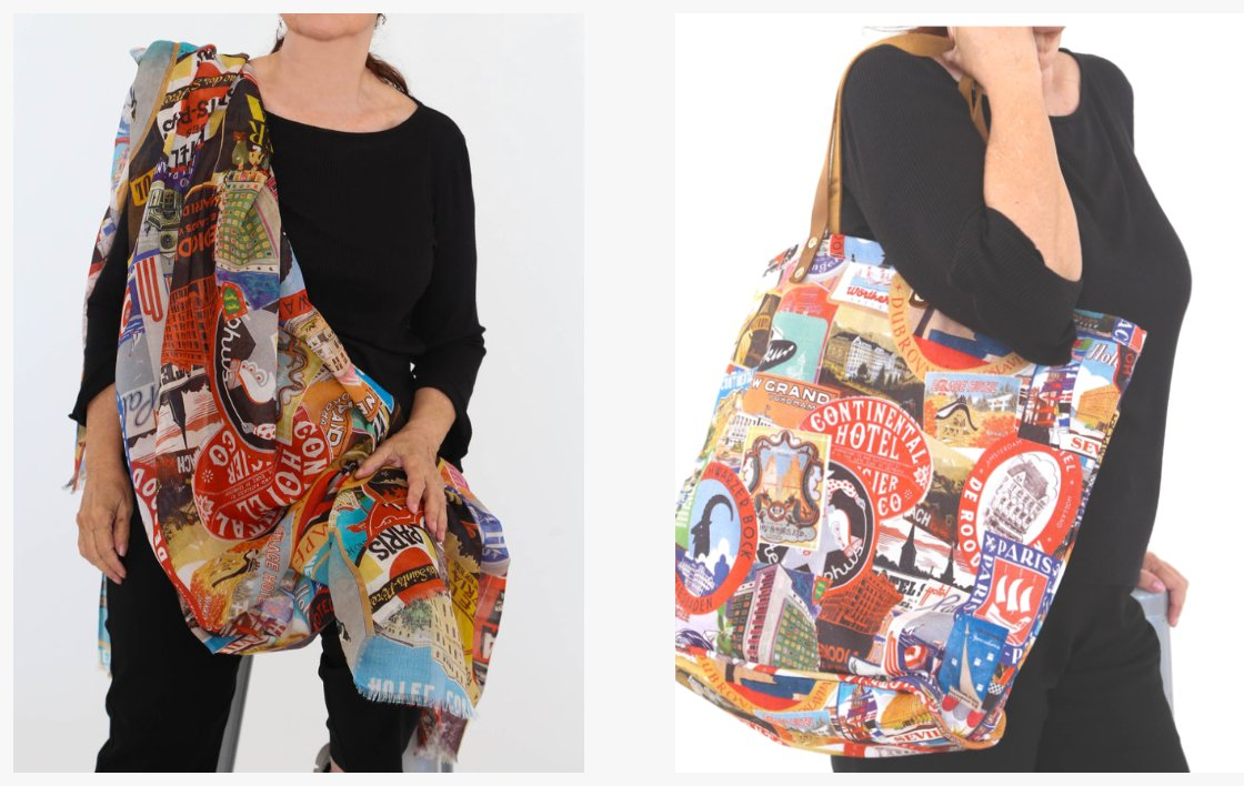 We are daydreaming of the weekend and a getaway trip! Debbie Martin's postcards scarf and bag keeps us inspired with her original prints and handy travel tote!  We may only travel to and from work... but hey why not? #wanderlust #adventure #explore# #travelgram #fashion #style