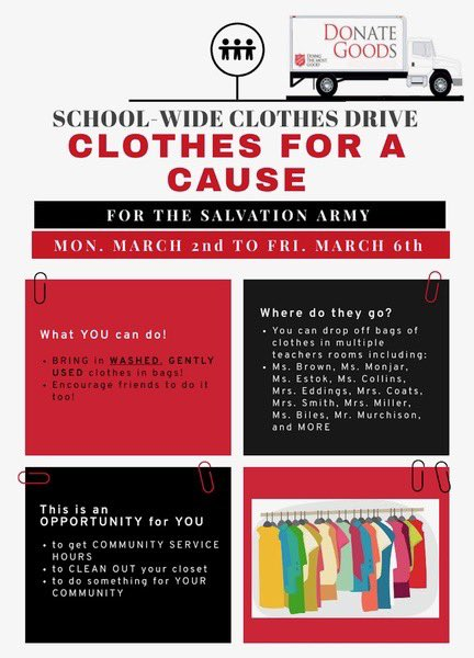 SGA will be participating in the clothing drive! Please bring in gently used, clean clothes. This can be used for Seniors towards earning their graduation cords! https://t.co/m9Z1wICPTT