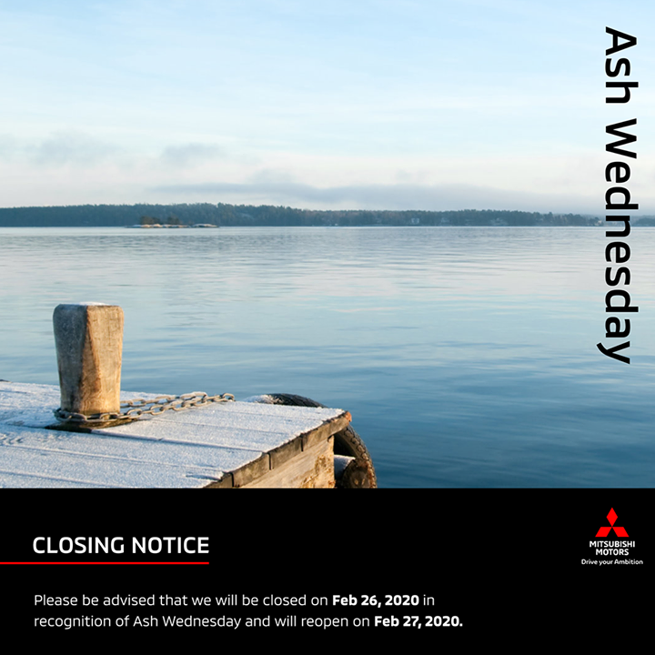 Dear customers,  Please be advised that we will be closed tomorrow, Wednesday February 26, in commemoration of #AshWednesday and will resume business on Thursday, February 27, 2020.  We wish you a safe and reflective break. https://t.co/MR64Cq7LTI
