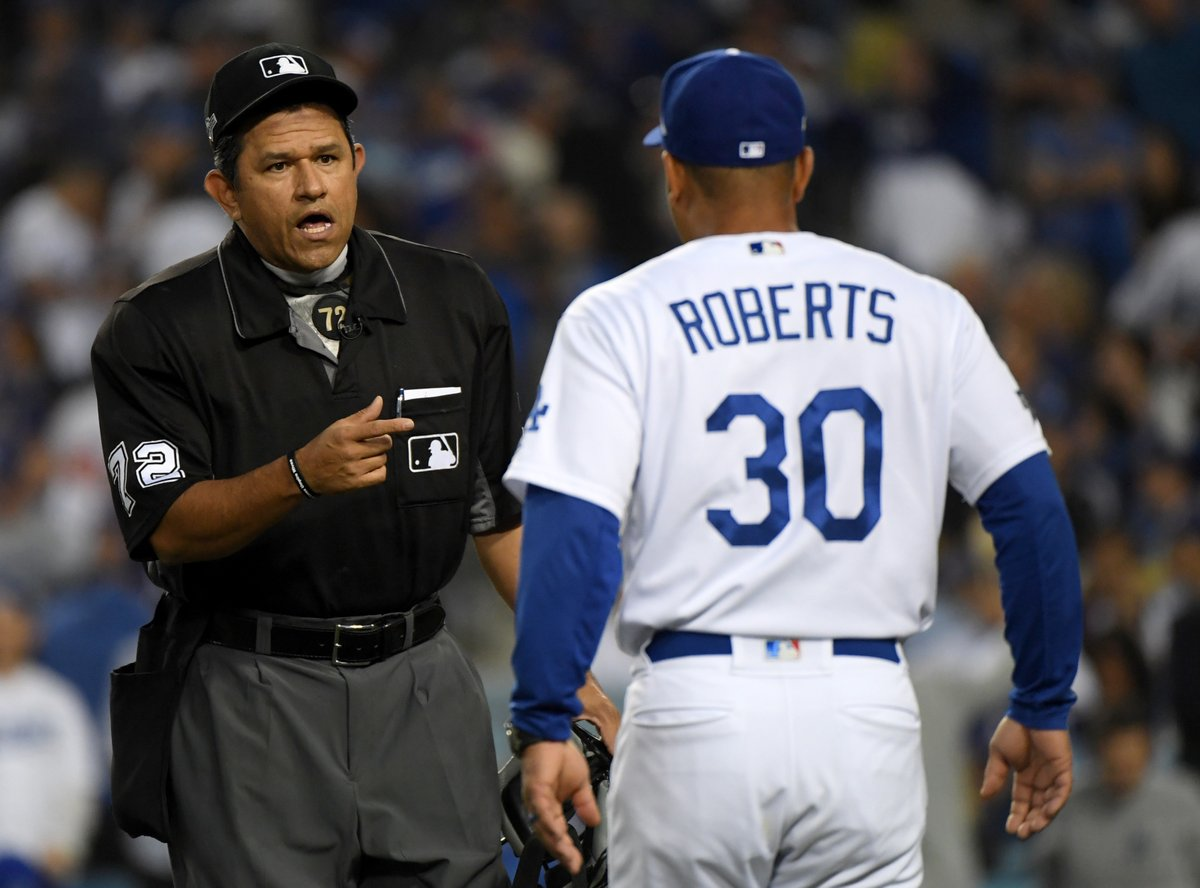 Dave Roberts has been ejected by home plate umpire after disputing the play at the plate.  Bench Coach Bob Geren will take over as Manager.