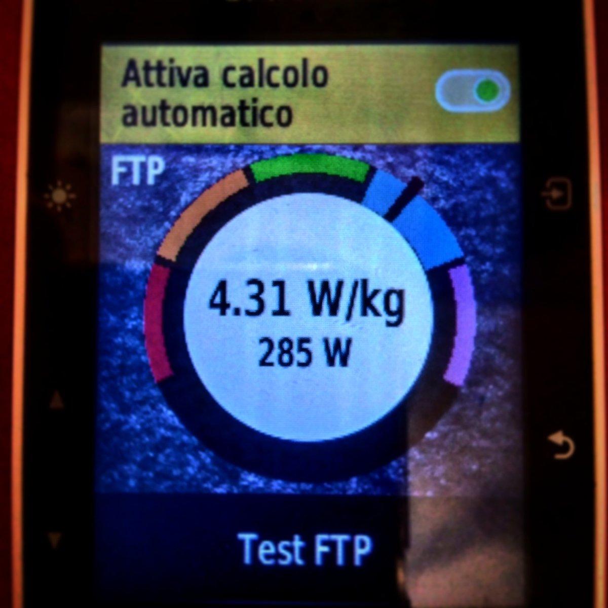 Test FTP : molto bene, dopo l'ultimo test dell'11 dicembre scorso ( 276 watt ) , stasera sono arrivato a 285 watt. Non male , vuol dire che sto' facendo un'ottimo allenamento #indoorcycling #hardtraining #garminedge520pic.twitter.com/9s2i478neI