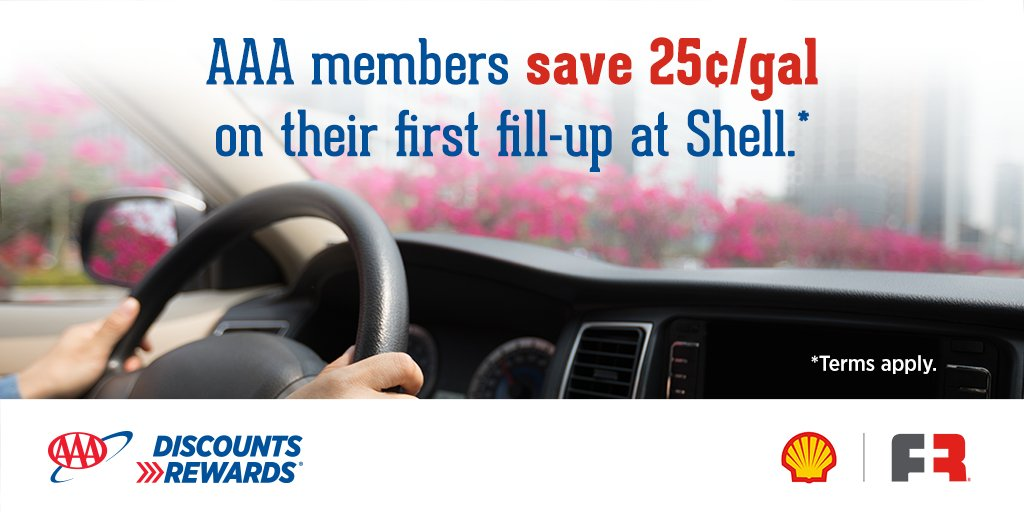 Join the Fuel Rewards® program to save at least 5¢/gal* on every fill at Shell.  Join by 4/30/20 and save an additional 25¢/gal* on your first fill-up. #AAADiscounts    *Terms apply.  Visit  for full details.