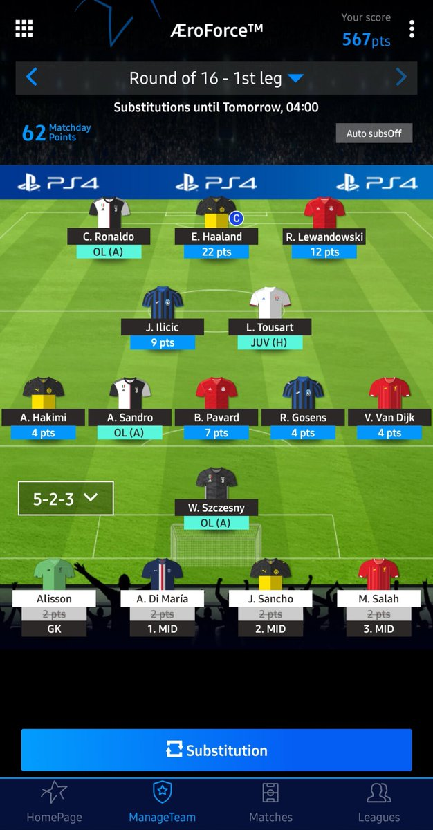 Round of 16 - 1st leg : 62 Total points : 567 Global rank : 465 ⬇️  #UCLFantasy