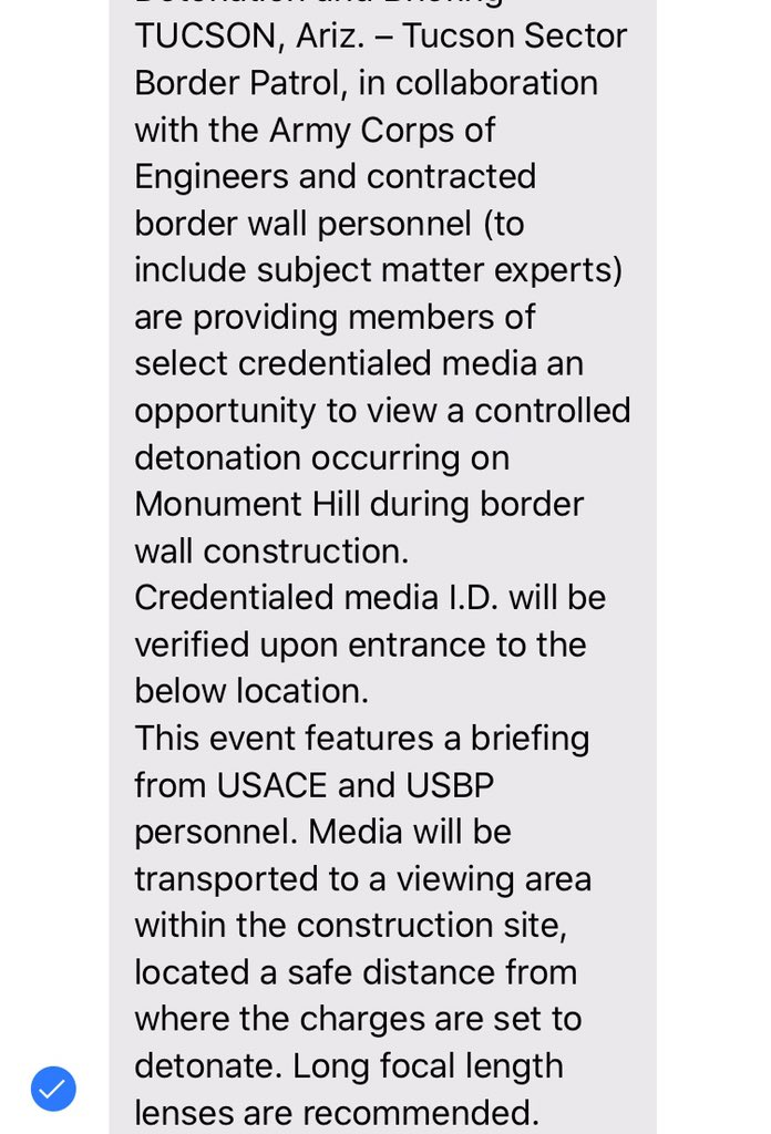@cbp holding event tomorrow at Organ Pipe for select media - including blasting at Monument Hill. We were not notified, I confirmed today but won't be going. pic.twitter.com/recWqayZIH