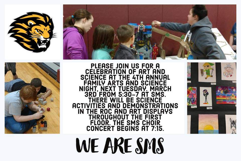 SMS is celebrating art & science at the 4th annual Family Arts & Science Night, next Tues. Mar. 3 from 5:30-7.  The SMS choir concert begins at 7:15pm. @smscubspic.twitter.com/WiS2WqidRD