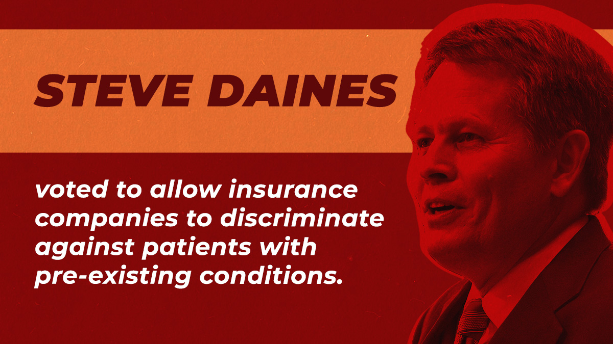Montanans — and all Americans — living with pre-existing conditions like diabetes, asthma, or cancer, deserve better than leaders like Steve Daines who are voting to give insurance companies a license to discriminate and take away access to health care. #ProtectOurCare