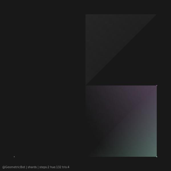 shards   steps:2 hue:132 tris:4  #generative #geometric #ProceduralArt #python #bot
