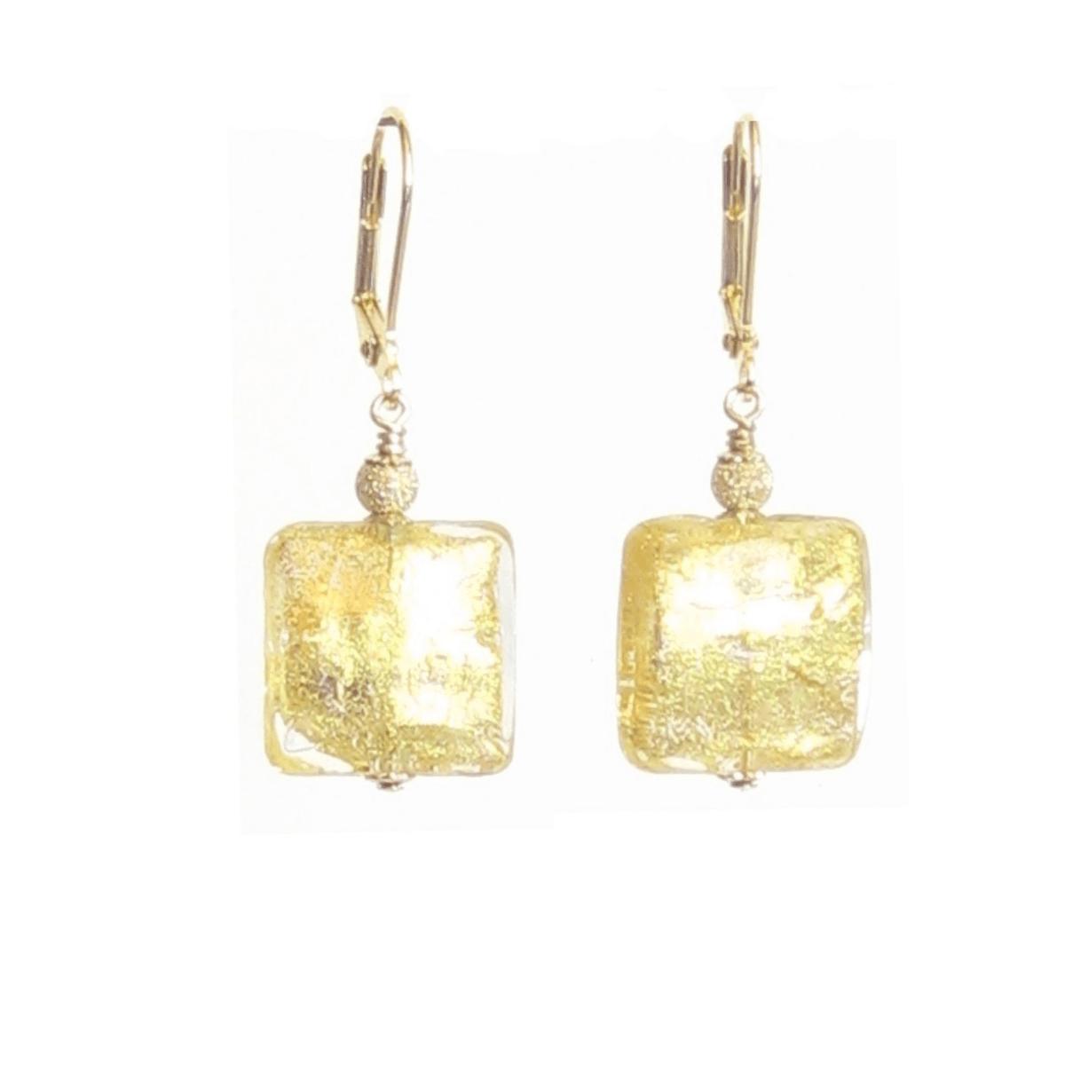 Murano Glass Square Clear Gold Earrings  #jewelry #etsymntt #earrings #handmade #murano #fashion