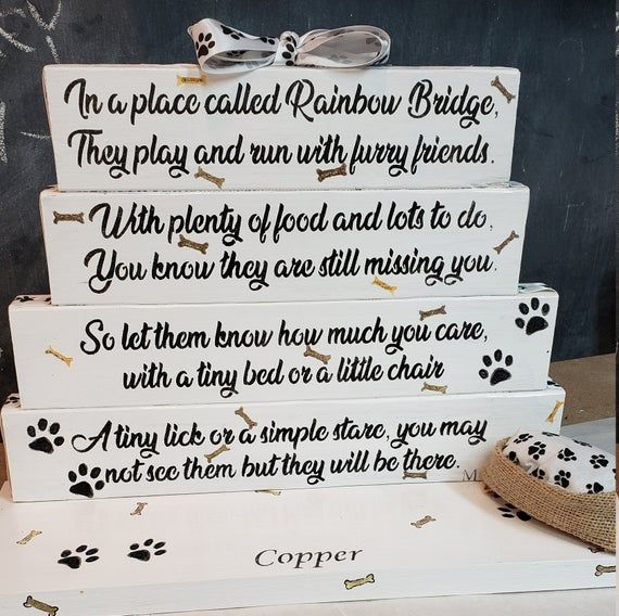 &^Loss of a pet can be very difficult.  Order this one today and I can add their name to the base. #memorial #rainbowbridge #doglover #etsy #handmade #gr8byz
