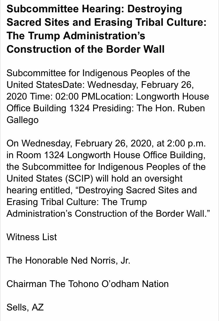 Tomorrow Feb 26, 2020, Tohono O'odham Chairman Ned Norris, Jr. will testify before Congress about the destruction of sacred sites. On the same day, the US will blow up Monument Hill on Organ Pipe Cactus National Monument, where O'odham burial remains are. -Via @brendanorrellpic.twitter.com/0vGdwqLgMf