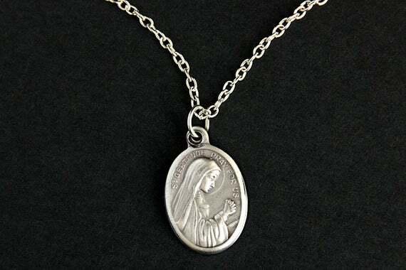 #Handmade  Saint Gertrude Necklace. Catholic Necklace. St Gertrude Medal Necklace. Patron Saint Necklace. Catholic Jewelry. Religious Necklace. by GatheringCharms
