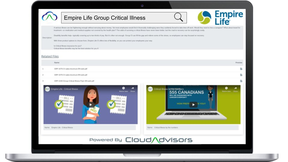 """Featuring @EmpireLife on the homepage of the CloudAdvisor App this week.  Search and Share """"Group Critical Illness"""" from the Solution Library to Employers today! #employeebenefits #advice #advisors #poweredbyCloudAdvisors  Demo:  http:// ow.ly/4ikp50yw0GI    <br>http://pic.twitter.com/y09tgrn8nS"""