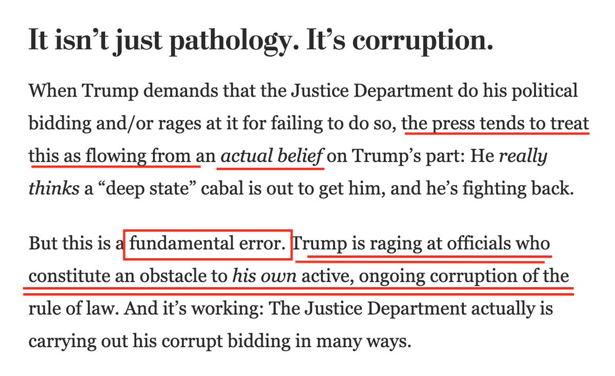 "@ThePlumLineGS 🔥@ThePlumLineGS: The press tends to treat Trump's purge & attacks as flowing from an actual—if pathological—belief in a ""deep state"" out to get him. THIS IS A FUNDAMENTAL ERROR. Trump rages at obstacles to his own active, ongoing #corruption of the rule of law, elections & more."
