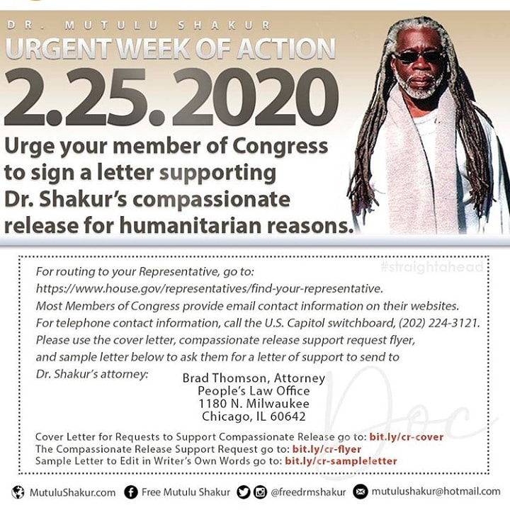 #Repost @freedrmshakur  ・・・ It's imperative we reach beyond our network! Reach out and urge your member of Congress to sign a letter supporting Dr. Shakur's compassionate release for humanitarian reasons!   https://t.co/4Y8s4zZS1y  #FreeDrShakur #MutuluisWelcomeHere https://t.co/V2eK6w9gGP