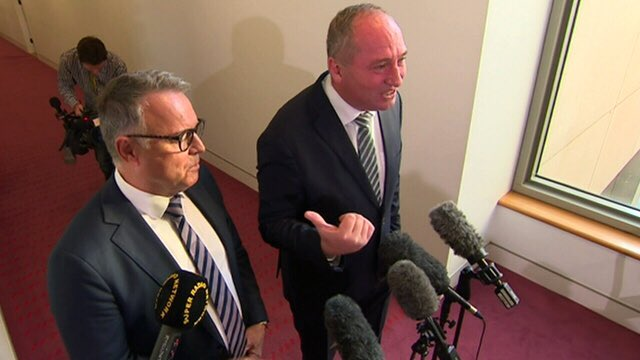 Dumb and dumber supporting the coal industry & climate destruction.   Barnaby Joyce blowing a gasket again.  Joel Fitzgibbon playing the fool again, failing his electorate with pro-coal and no exit transition plan.   #auspol. #ClimateEmergency #AustraliaBushfires #drought