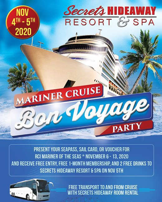 Before you set sail on your November Bliss Cruise, preparty with #Secrets! Free transportation to and from the port with your paid Resort reservation! Your wildest secrets start at #SecretsHideaway Resort & Spa! #Lifestyle #cruise #BlissCruise #Swingers #alternativelifestyle