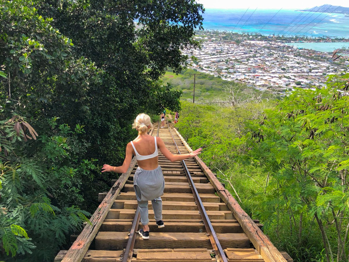 We love these stairs. Thigh burning, sweat dripping and so worth the view at the top. Then the view going down ain't so bad either!   #hiking #nature #livingontheedge #whattodoinhawaii #hawaiivacation #oahu  #adventure #haleiwa #hikinghawaii #hikinglife #fit #fitness