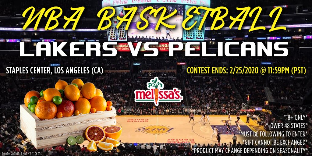 🏀GIVEAWAY🏀 Tonight, two superstars collide (Zion x Lebron) in LA for #LakeShow vs. #WontBowDown! Celebrate with a chance to win a basket of our best citrus in season! Follow the steps below for entry!  🍊  ✔️Follow @MelissasProduce  ✔️RT & tag friends