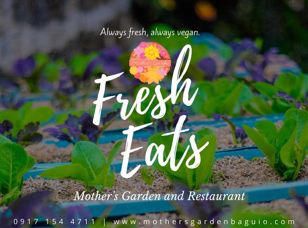 Always fresh, always vegan. Fresh Eats! Mother's Garden is waving at you! http://www.mothersgardenbaguio.com #LazyDay #FineDining #CuisineGarden #Gourmet #OrganicRestaurant #HealthyFoods #ThemedRestaurant #CorporateRestaurant #RealTeamBuilding #FoodFusion #TouristDestination #QuietPlacepic.twitter.com/GFdybSKNey