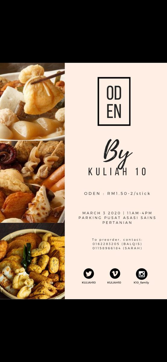 *ATTENTION EVERYONE!*   We, the Kuliah 10 students are here to serve you with the most delightful oden in town.  _It looks so good on the outside, it'll make you feel good inside._  The best part about it? We have *so many* kinds to choose from!  <br>http://pic.twitter.com/FwwY03856J