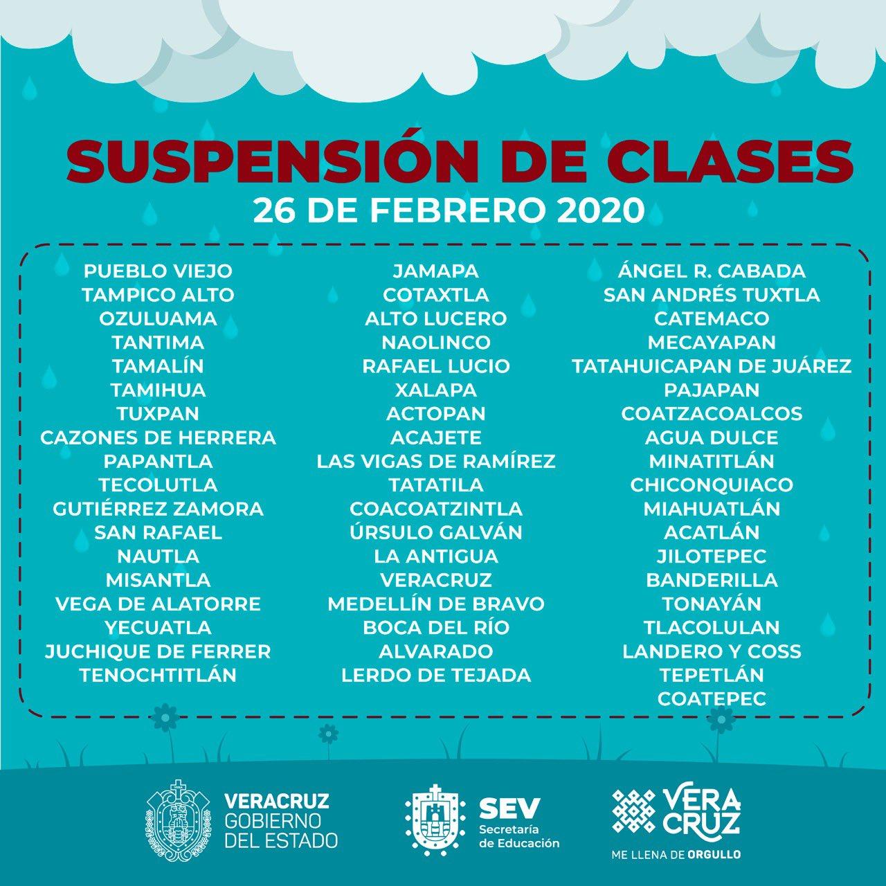 Emite SEV lista de municipios donde no habrá clases este miércoles