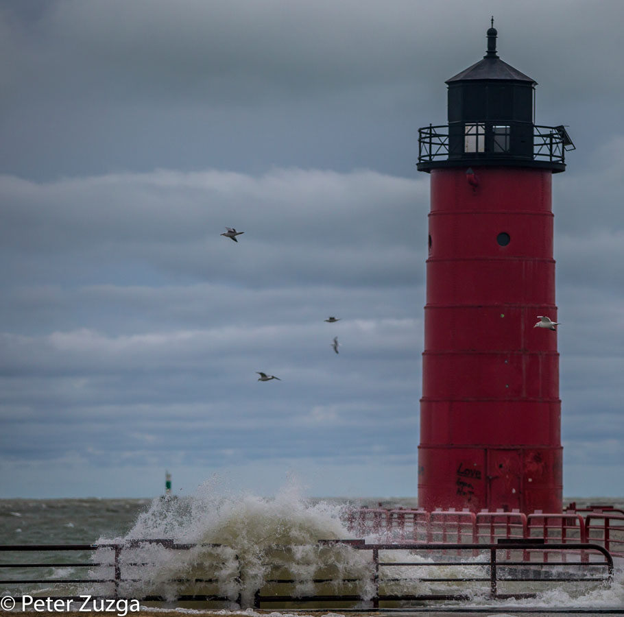 Please open to see full image. #LakeMichigan #waves at the Pierhead Light entrance to the inner-harbor in Lake Shore State Park @WDNR in #Milwaukee #Wisconsin today. #storm #winter #lighthouse #mytown #landscapephotography #photojournalism #photography